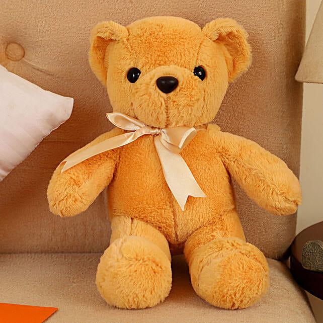 Mini Camel Coloured Teddy Bear With Bow: Soft toys for Friendship Day