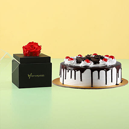 Forever Red Rose With Black forest cake: Valentine's Day Cakes