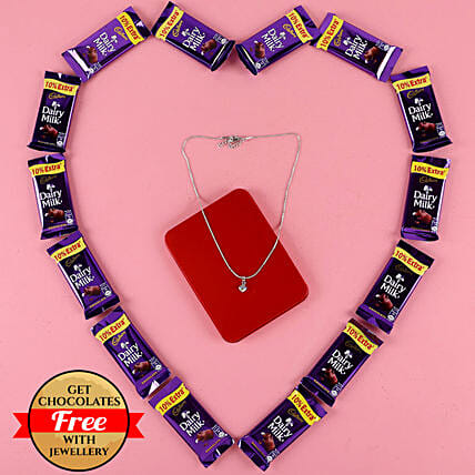 Heart Shaped Pendant With Chain N Free Chocolates: Send Valentines Day Jewellery
