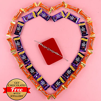Red Heart Bracelet With Free Chocolates: Valentines Day Jewellery