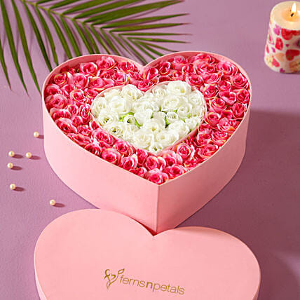 Artificial Roses Heart Box: Artificial Flowers