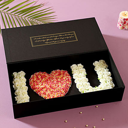 I Love U Artificial Roses Box: Artificial Flowers