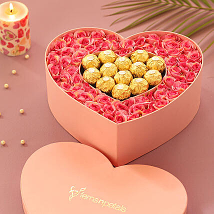 Artificial Roses & Chocolates Heart Box: Artificial Flowers