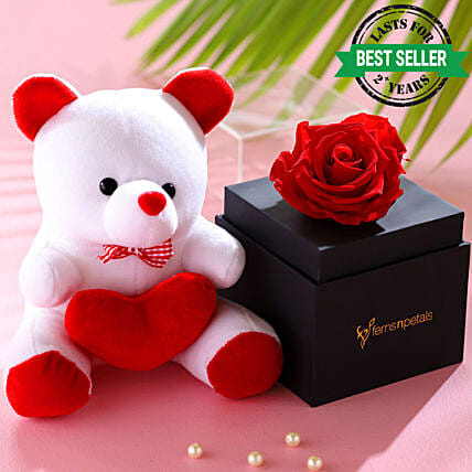 Red Forever Rose With Teddy Bear: Forever Roses