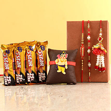 Family Rakhi Set & Five Star Chocolates: Rakhi Gifts