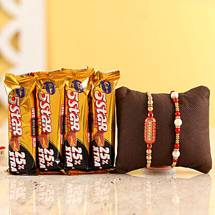 Pearl & Capsule Rakhi With Five Star Chocolates: Rakhi