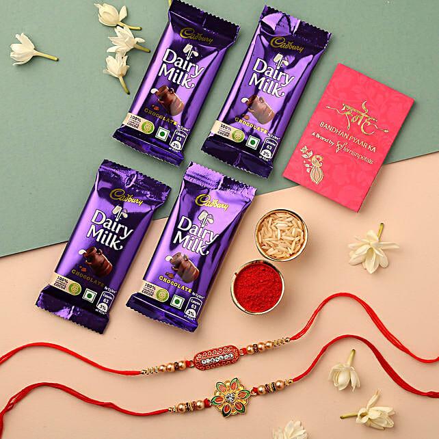 Meenakari Flower & Capsule Rakhi With Cadbury: Rakhi