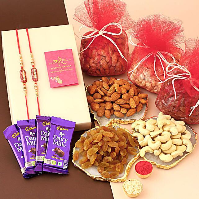 Chocolates & Dry Fruits With Capsule Rakhi Set: Rakhi