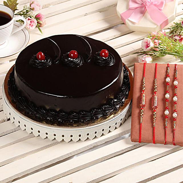 Truffle Cake & Set of 4 Rakhis: Rakhi Gifts
