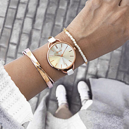 White & Rose Gold Bracelet Stack: Jewellery Gifts