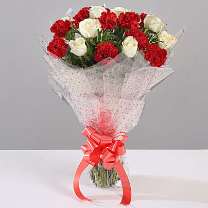 White Roses & Red Carnations Bouquet: Mixed Flowers