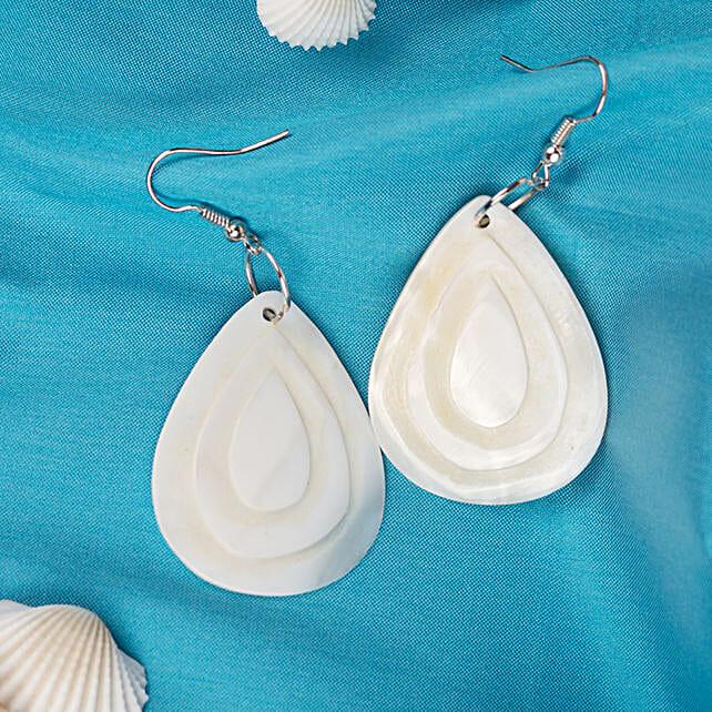 White shell teardrop Dangle Earrings: Send Jewellery Gifts