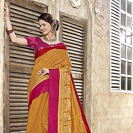 Yellow Art Silk Saree:
