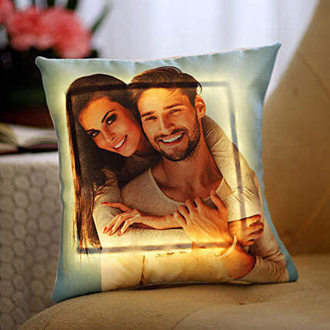 Yellow LED Personalised Love Cushion: Buy Cushions