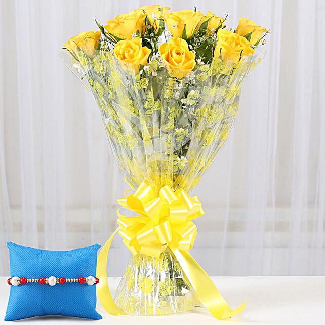 Yellow Roses Bouquet & Rakhi: Send Rakhi with Flowers