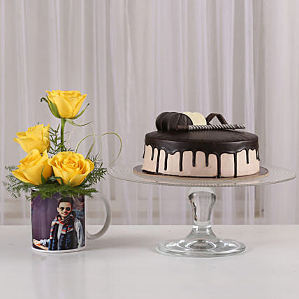 Yellow Roses Picture Mug & Chocolate Cake: Personalised Gifts Combos