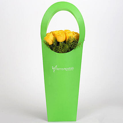 Yellow Roses With Green Sleeve: Yellow Flowers