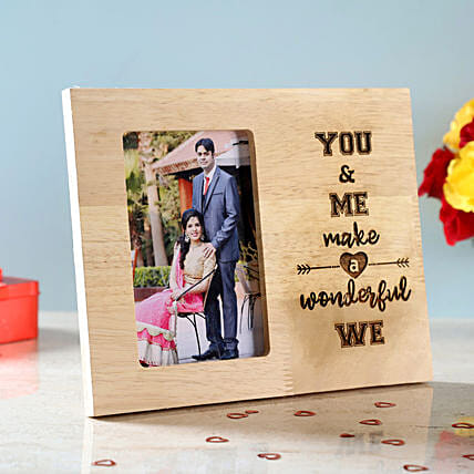 You & Me Engraved Wooden Photo Frame: Personalised Photo Frames Gifts