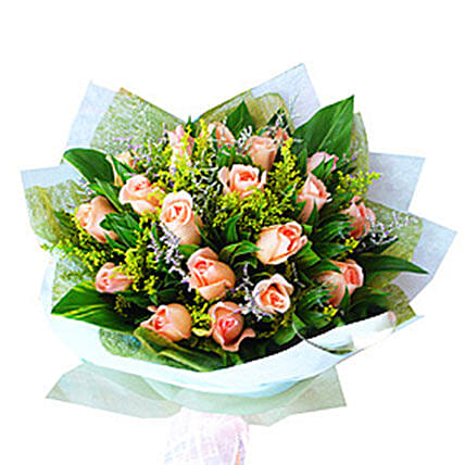 Peach Roses Bouquet: Flower Delivery in Johor Bahru