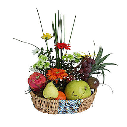 Basket Of Flowers and Fruits: Christmas Gift Delivery in Mauritius