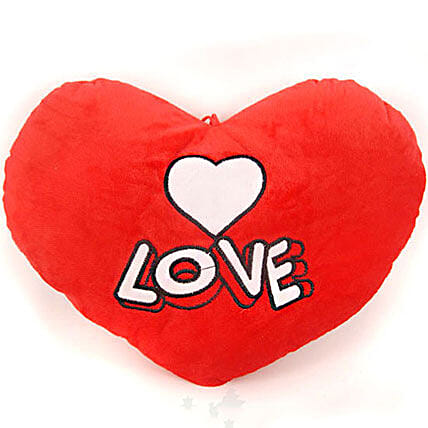 Red Love Valentine Heart Pillow With White Heart: Send Gifts to Nepal