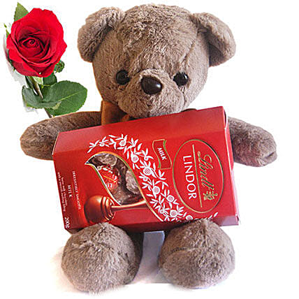Lindt Chocolate And Cute Love Teddy with Rose: Rakhi Gifts to Sister in Nepal