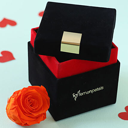 Orange Flame Forever Rose in Velvet Box: