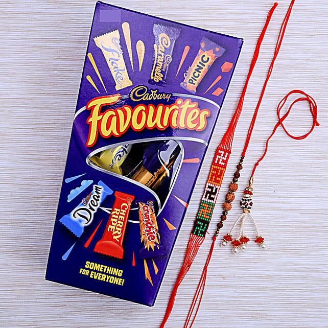 Three Beautiful Rakhi Set With Cadburys Favourite Chocolate: Send Rakhi for Bhaiya Bhabhi to New Zealand