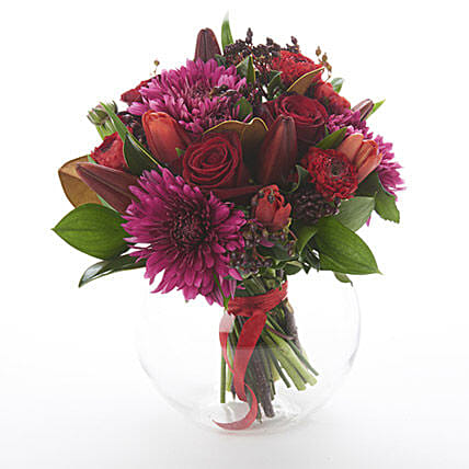 Dark Red Posy: Send Valentines Day Flowers to New Zealand