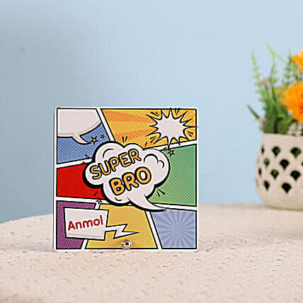 Personalised Super Bro Table Top: Send Bhai-Dooj Gifts to New Zealand