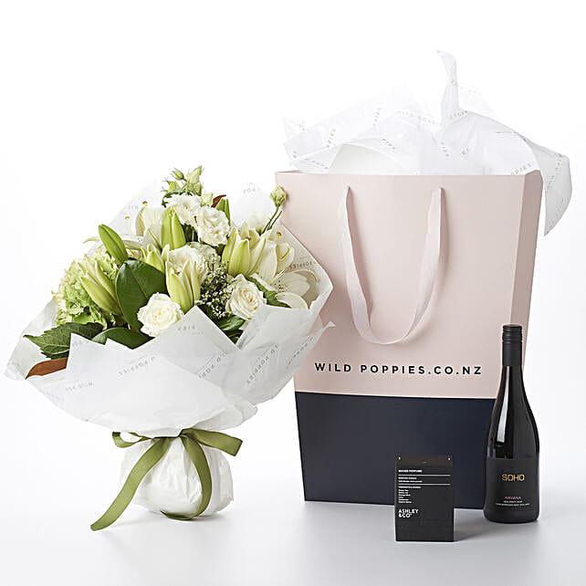 Flowers N Wine Gift Hamper: Send Wedding Gifts to New Zealand