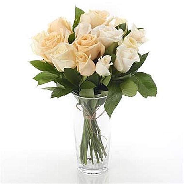 12 Mixed Peach N Cream Roses Arrangement: Newborn Baby Flowers to New Zealand
