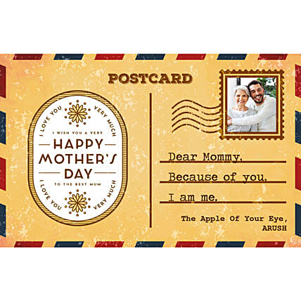 Personalised Because Of You Mom E Postcard: Send Mothers Day Gifts to New Zealand