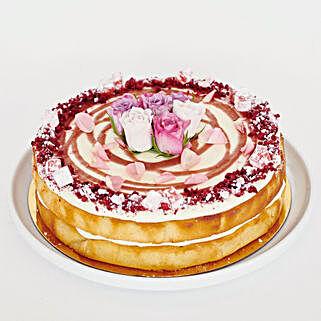 Rich Rhubarb Lemon Rose Cake