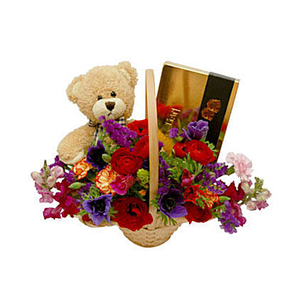 Classic Teddy Bear Basket: Send Romantic Gifts to Oman