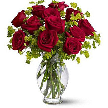 Red Roses in Glass Vase OM: Send Birthday Gifts To Oman