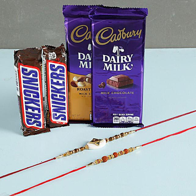 Designer Rakhis With Snickers And Cadbury: Set of 2 Rakhi to Philippines