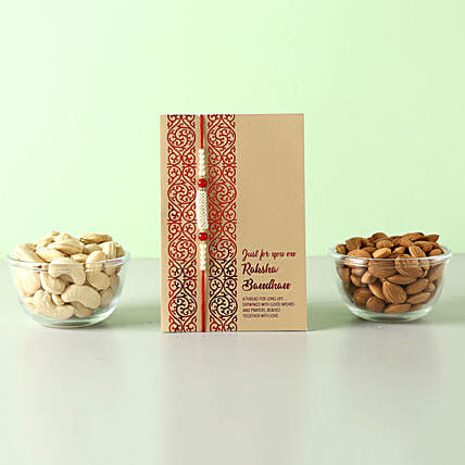 Healthy And Crunchy Rakhi Gift For Brother: Rakhi With Dryfruits to Philippines