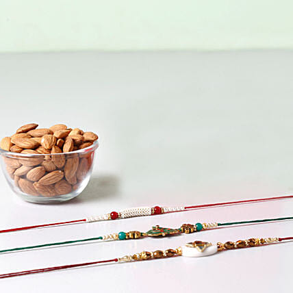 Combo Of Almonds And 3 Glorious Rakhis: Rakhi With Dryfruits to Philippines