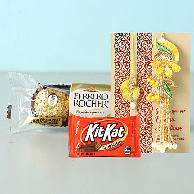 Bhaiya Bhabhi Rakhi Set With Kitkat And Rocher: Bhaiya Bhabhi Rakhi to Philippines