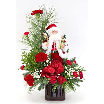 Christmas Santa With Carnations: Send Christmas Gifts to Philippines