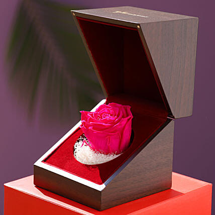 Bright Pink Forever Rose In Wooden Box: Send Forever Roses to Philippines