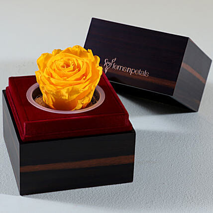 Wooden Box With Yellow Forever Rose:
