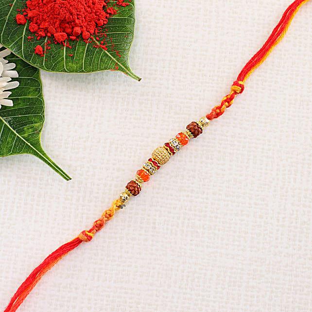 Fancy Orange Red Rakhi Thread: Send Single Rakhi to Poland