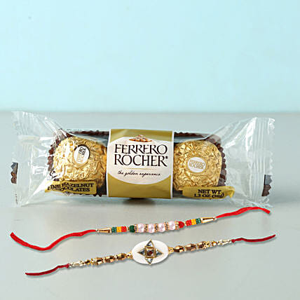 Set of 2 Fancy Rakhis With Rochers: Rakhi Delivery for Brother in Qatar