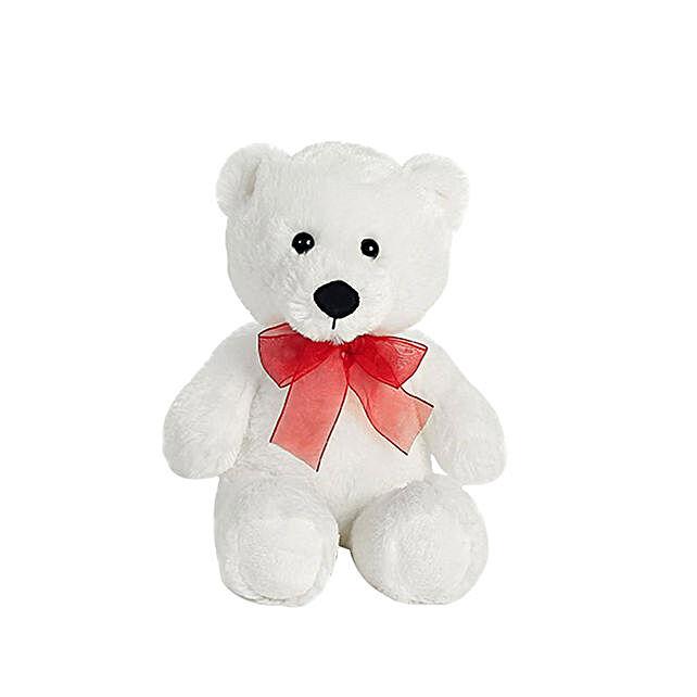 Adorable White Small Teddy Bear: Send Birthday Gifts to Qatar