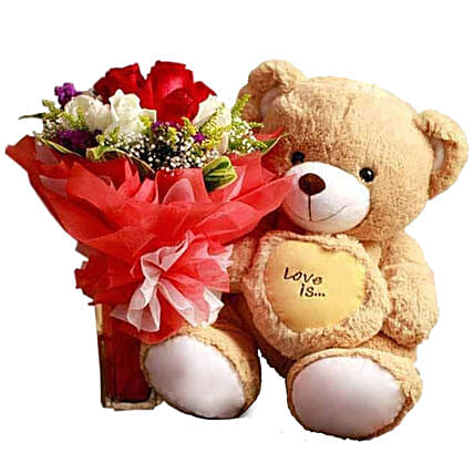 Rose Bouquet And Small Teddy Combo: Send Easter Gifts to Qatar