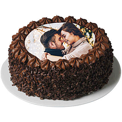 Flavorsome Chocolate Photo Cake: Send Anniversary Cakes to Qatar