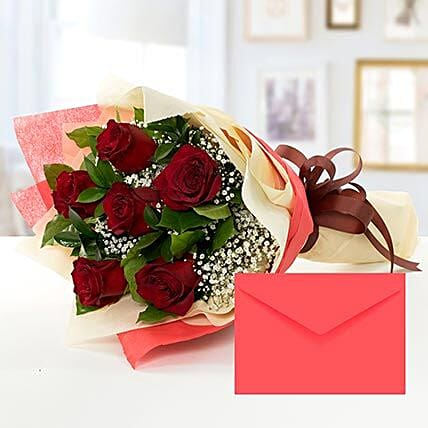 6 Red Roses Bouquet With Greeting Card QT: Send Flower Bouquet to Qatar