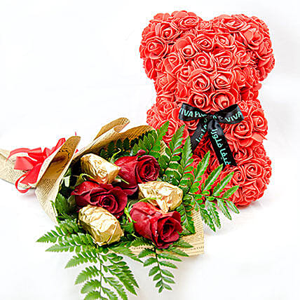 Red Teddy With Chocolates And Rose: Send Forever Roses to Qatar